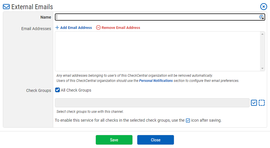 External Email Notification Configuration
