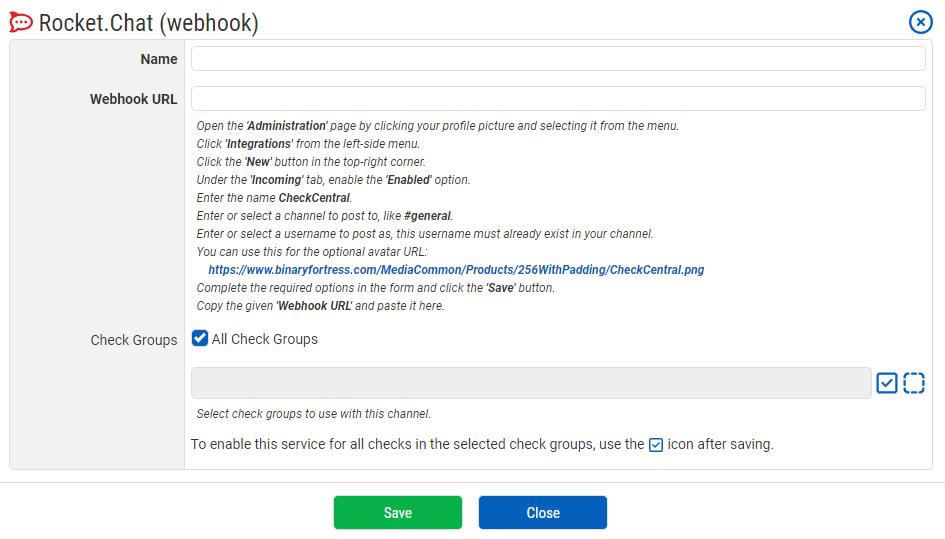 RocketChat Notification Configuration