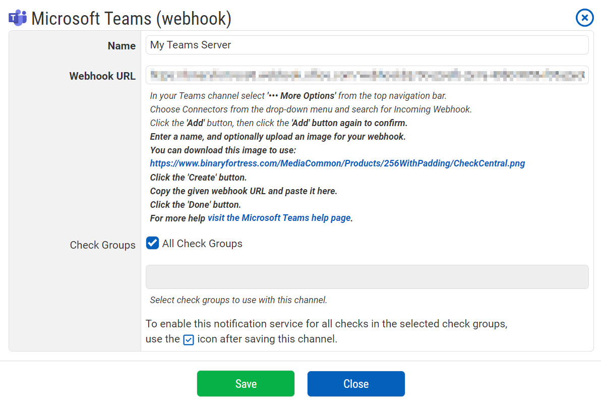 Teams Notification Configuration
