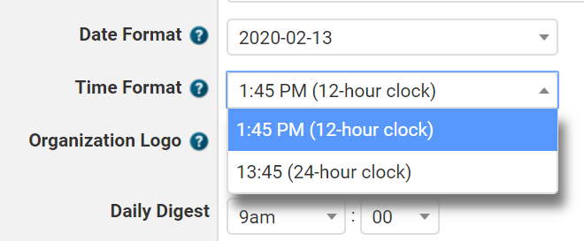 Date/Time Format Settings
