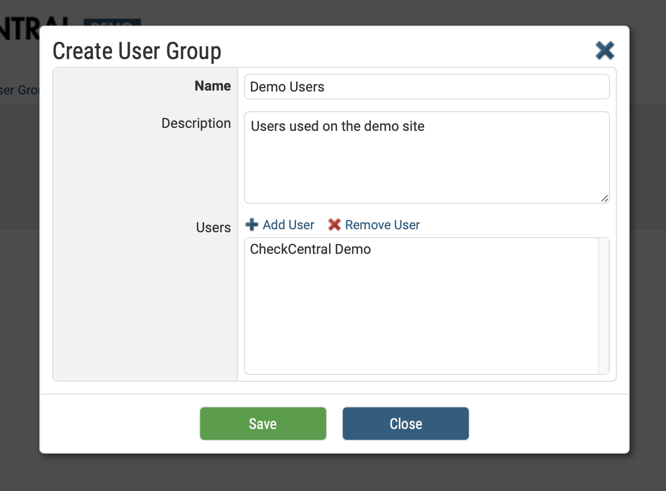 Create User Group